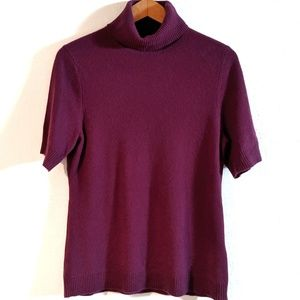 100% Cashmere Short Sleeve Purple Turtleneck Large